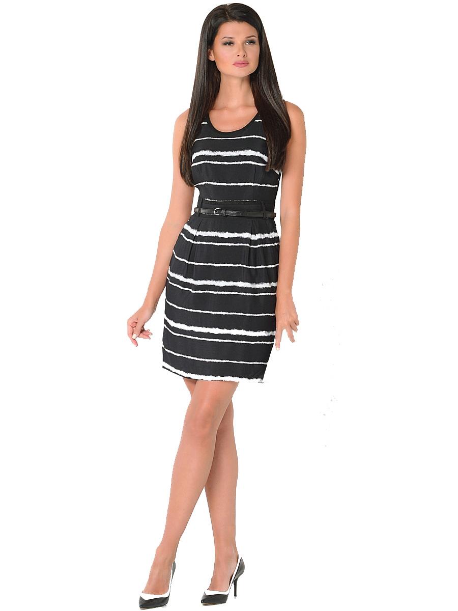 Платье Milton, цвет: черный. WD-2417V. Размер 48WD-2417VПлатье полуприлегающего силуэта, без рукавов, отрезное по линии талии, со съемным ремешком. На юбке по линии талии заложены мягкие складки.