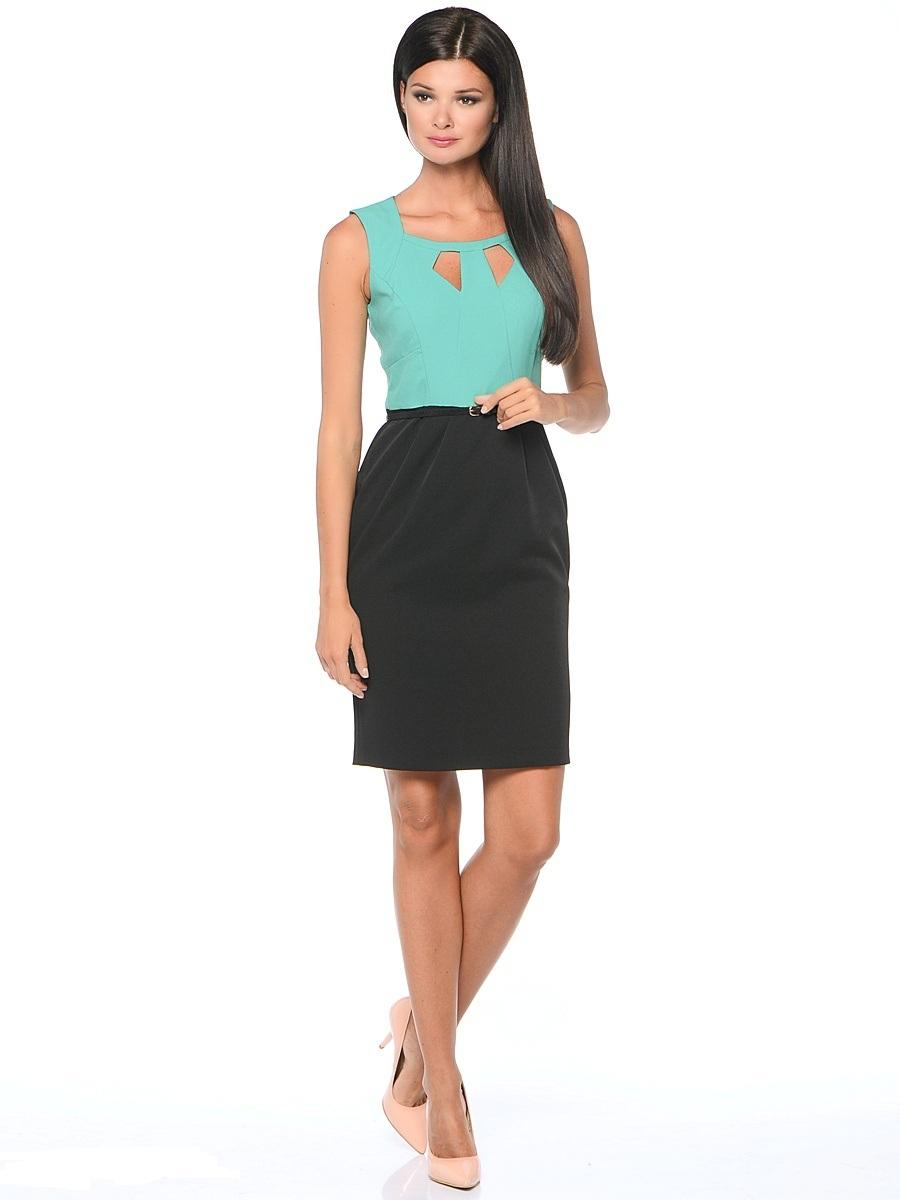Платье Milton, цвет: бирюзовый, черный. WD-2421V. Размер 50WD-2421VПлатье-карандаш прилегающего силуэта, без рукавов, отрезное по линии талии, со съемным ремешком. Лиф платья - из яркой однотонной ткани, юбка - из ткани черного цвета.