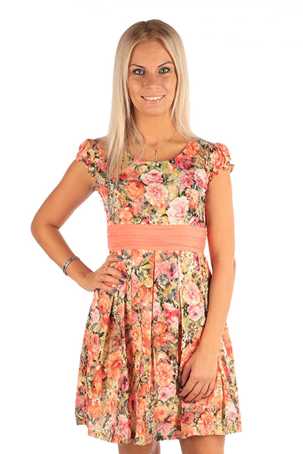 Платье Milton, цвет: розовый. WD-2444C. Размер L (48)WD-2444CПлатье полуприлегающего силуэта, с короткими рукавами в виде крылышек, отрезное по линии талии, с втачным поясом из контрастной однотонной ткани. Юбка расклешенная, со складками от талии.