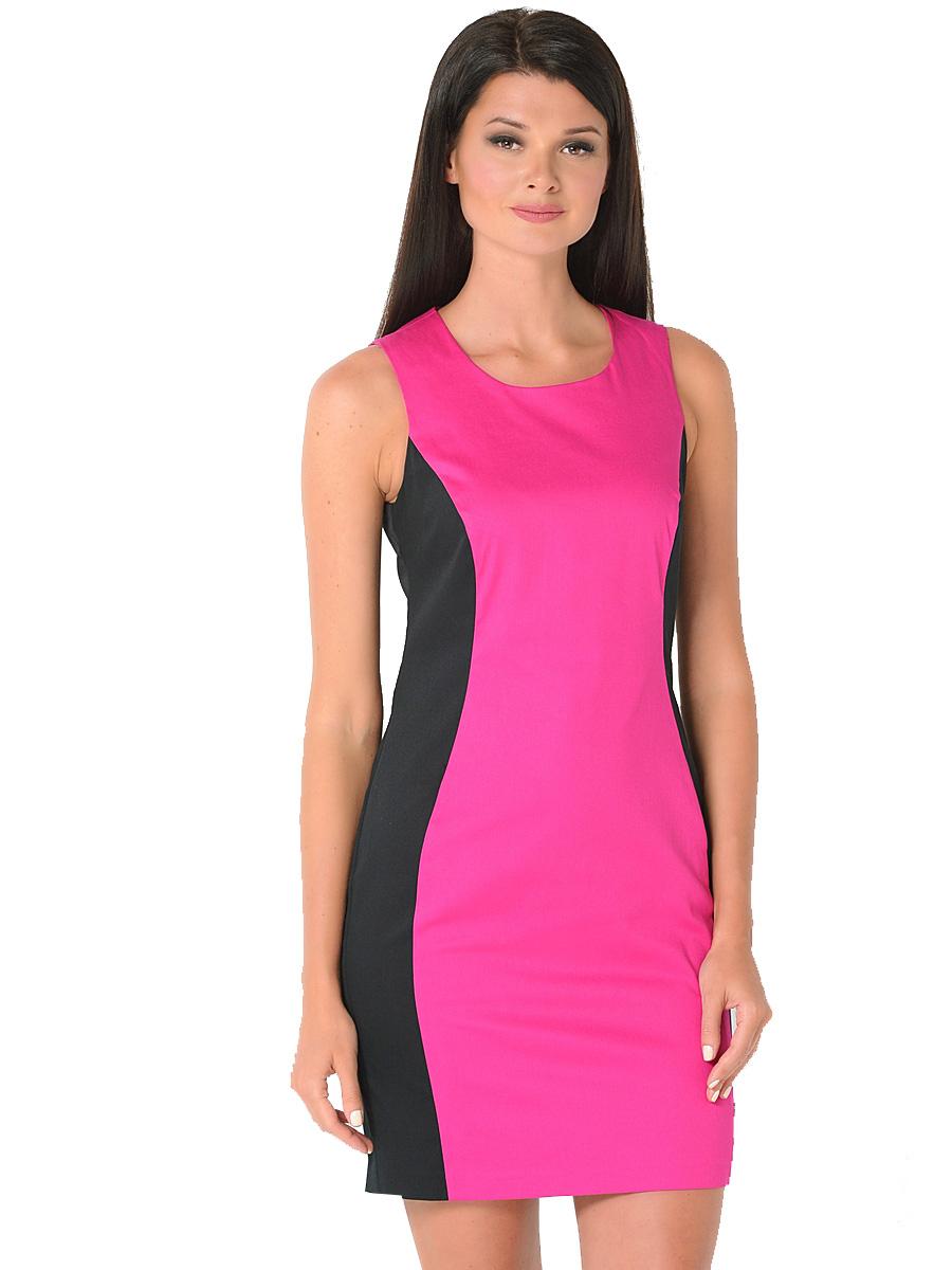 Платье Milton, цвет: фуксия. WD-2416V. Размер 48WD-2416VПлатье полуприлегающего силуэта без рукавов выполнено из трикотажа двух контрастных цветов. Модель застегивается на потайную застежку-молнию.