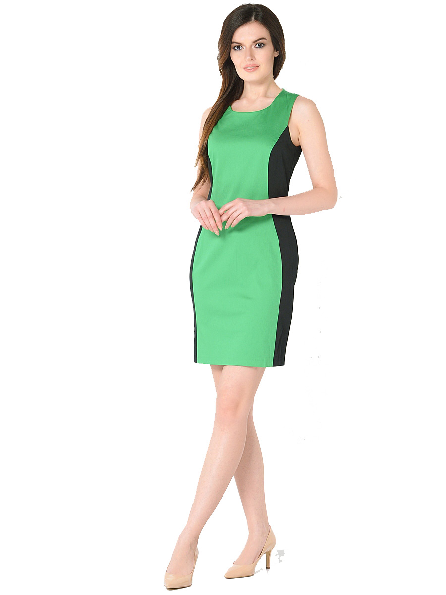 Платье Milton, цвет: зеленый. WD-2416V. Размер 50WD-2416VПлатье полуприлегающего силуэта без рукавов выполнено из трикотажа двух контрастных цветов. Модель застегивается на потайную застежку-молнию.