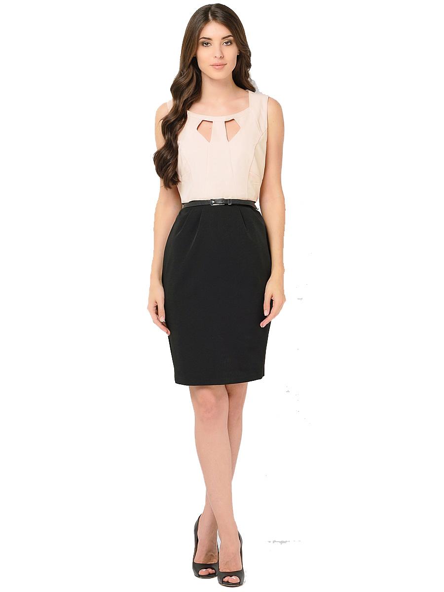 Платье Milton, цвет: бежевый, черный. WD-2421V. Размер 44WD-2421VПлатье-карандаш прилегающего силуэта, без рукавов, отрезное по линии талии, со съемным ремешком. Лиф платья - из яркой однотонной ткани, юбка - из ткани черного цвета.