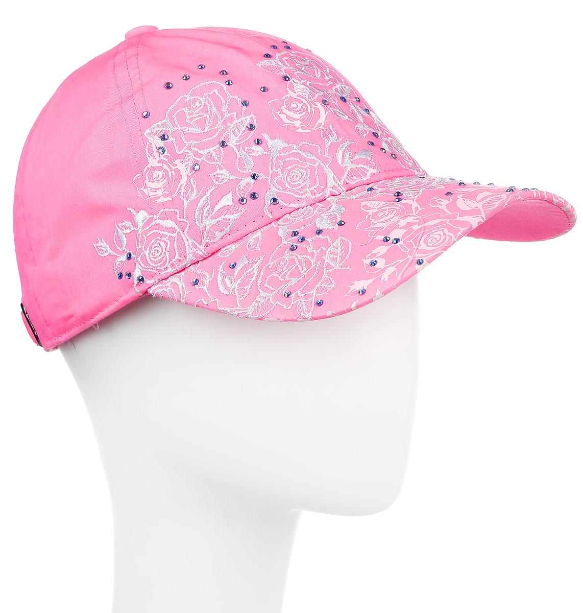 Бейсболка женская Maxval, цвет: розовый. BW151014. Размер 56/58BW151014Бейсболка классической формы в сочетании с яркой неоновой тканью, легкой цветочной вышивкой и принтом, будто кружево ложится на форму. Дополняют композицию изысканно поблескивающие стразы. Стиль бейсболки подчеркнуто романтичен и будет прекрасным дополнением летнему образу любой женщины.