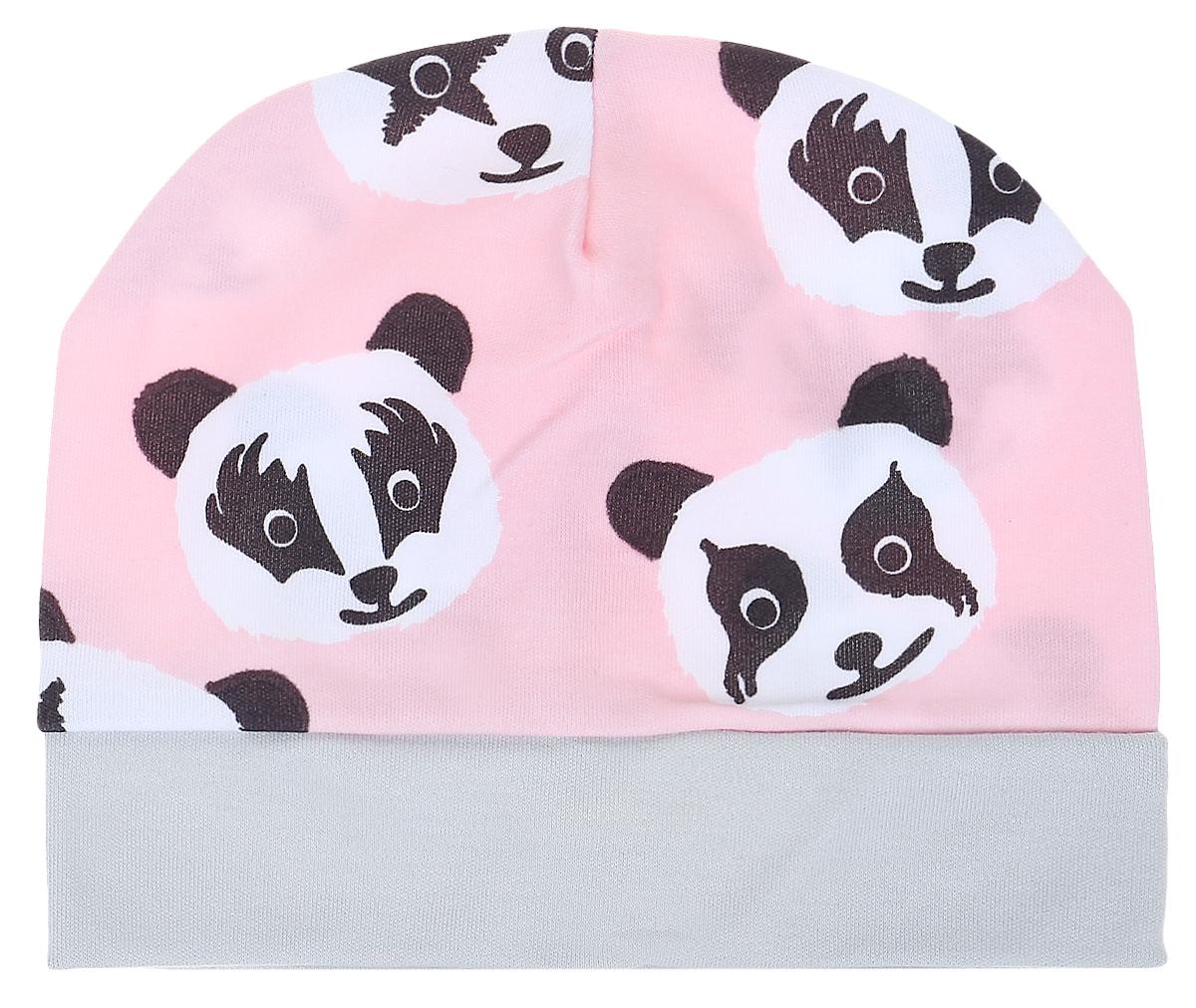 Чепчик детский КотМарКот, цвет: розовый. 8522. Размер 408522Чепчик КотМарКот выполнен из натурального хлопка и оформлен оригинальным принтом с пандами.Модель по низу дополнена широкой резинкой.