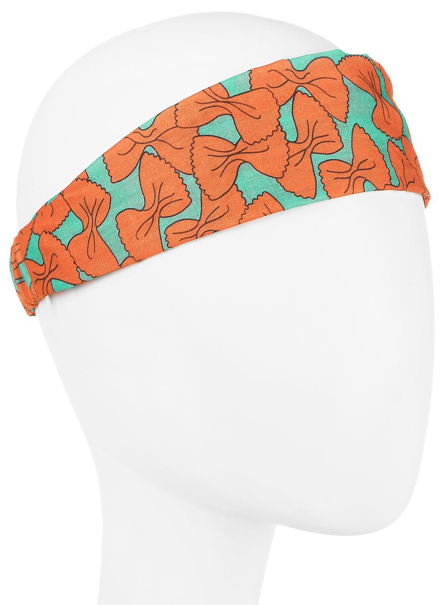Повязка на голову женская Maxval, цвет: бирюзовый, оранжевый. PoW100271. Размер 26 смPoW100271Повязка на голову из хлопка в яркой цветовой гамме. Размер универсальный. Различные варианты носки.