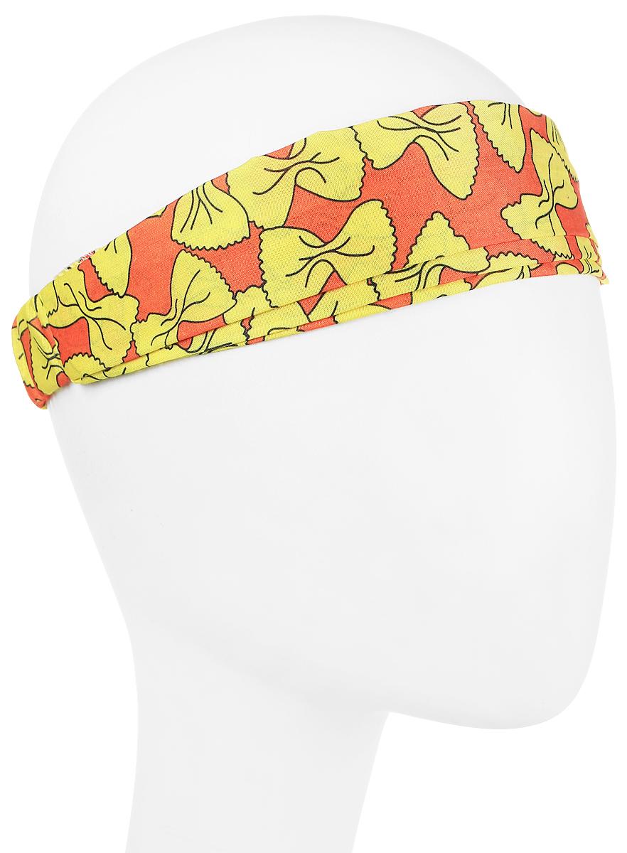 Повязка на голову женская Maxval, цвет: желтый, оранжевый. PoW100271. Размер 26 смPoW100271Повязка на голову из хлопка в яркой цветовой гамме. Размер универсальный. Различные варианты носки.