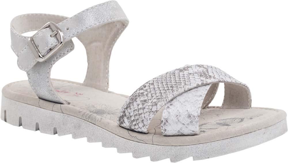 Сандалии для девочки Котофей, цвет: белый, серый. 623012-22. Размер 34623012-22Модные сандалии для девочки от Котофей выполнены из искусственной кожи. Внутренняя поверхность и стелька из натуральной кожи обеспечат комфорт при движении. Ремешок с металлической пряжкой надежно зафиксирует модель на ноге. Подошва дополнена агрессивным протектором.