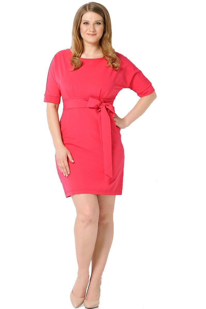 Платье Milton, цвет: красный. WD-2455F. Размер 56WD-2455FПлатье полуприлегающего силуэта, отрезное по линии талии, с подкройным поясом, с цельнокроенными рукавами. На лифе и юбке платья от пояса заложены складки.