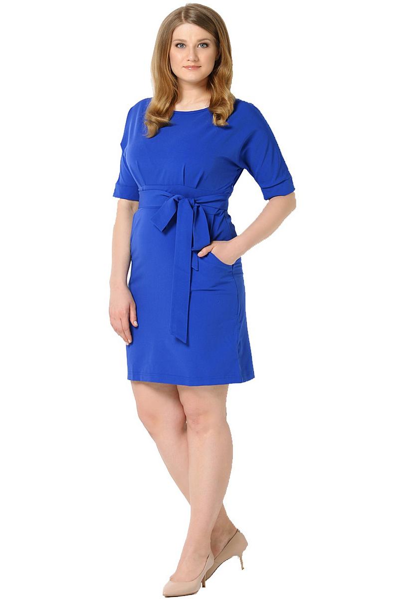 Платье Milton, цвет: синий. WD-2455F. Размер 56WD-2455FПлатье полуприлегающего силуэта, отрезное по линии талии, с подкройным поясом, с цельнокроенными рукавами. На лифе и юбке платья от пояса заложены складки.