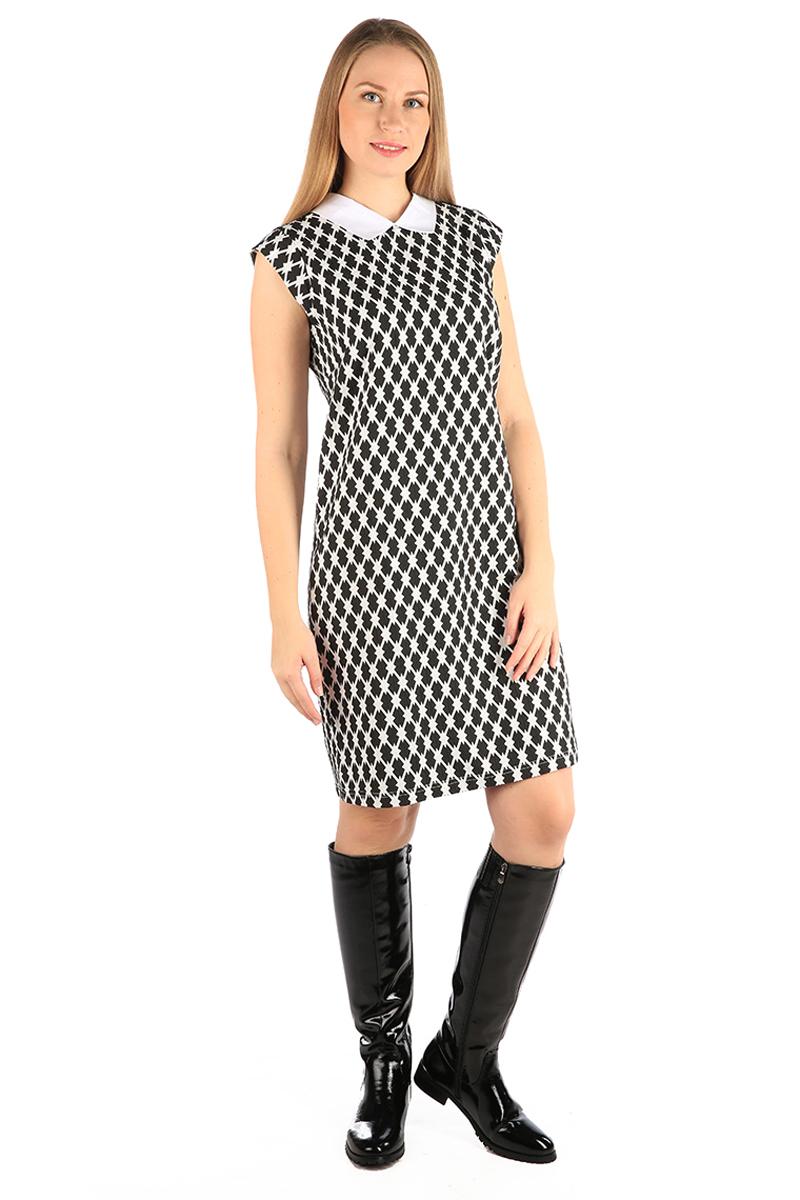 Платье Milton, цвет: черный. WD-2469F. Размер 48WD-2469FПлатье полуприлегающего силуэта, с короткими рукавами в виде крылышек, с отложным воротником выполнено из высококачественного материала.