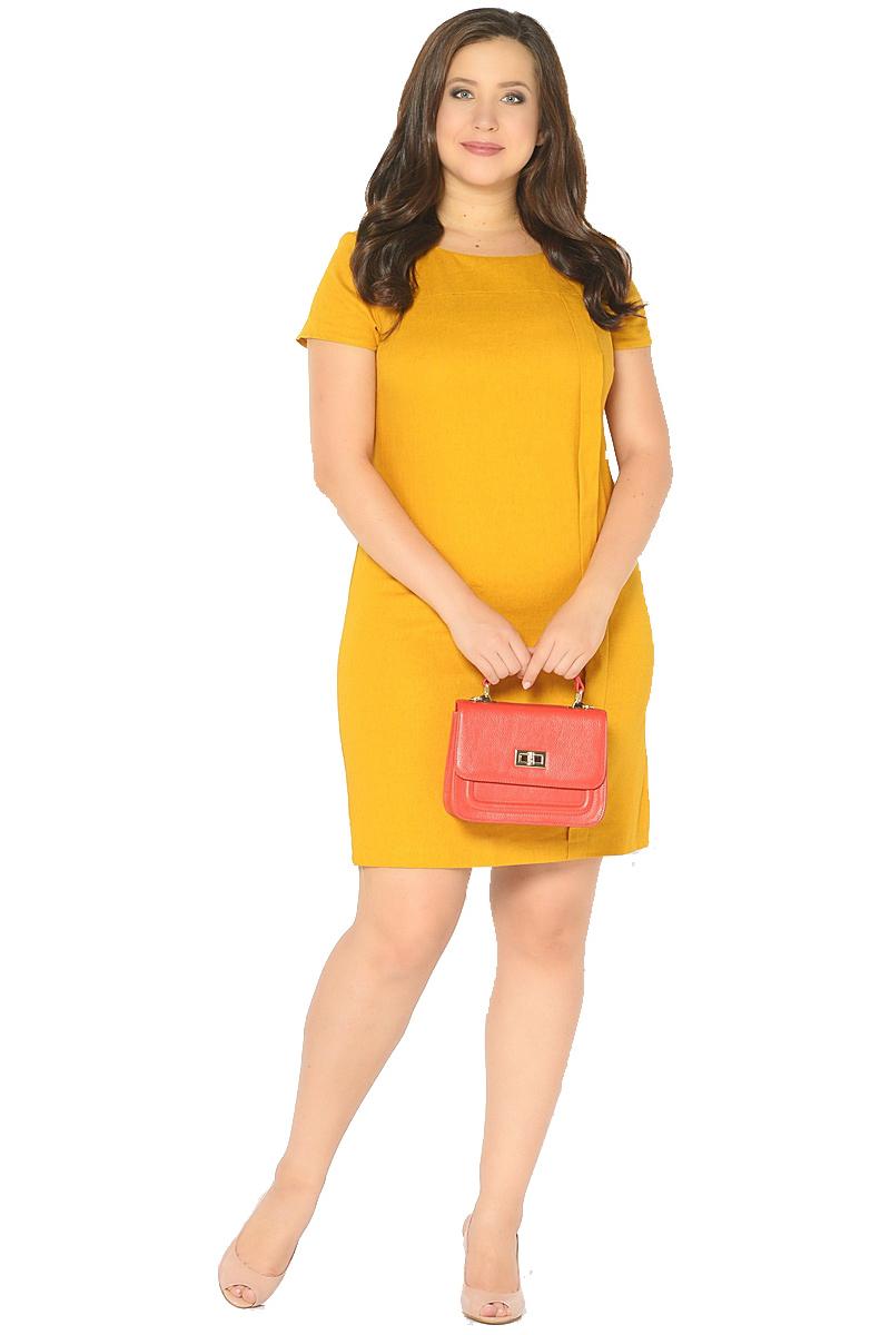 Платье Milton, цвет: желтый. WD-2601F. Размер 48WD-2601FЛьняное платье полуприлегающего силуэта, с короткими втачными рукавами, с кокеткой по переду, от которой с левой стороны застрочена вертикальная складка до низа.