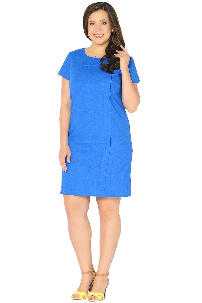 Платье Milton, цвет: синий. WD-2601F. Размер 52WD-2601FЛьняное платье полуприлегающего силуэта, с короткими втачными рукавами, с кокеткой по переду, от которой с левой стороны застрочена вертикальная складка до низа.