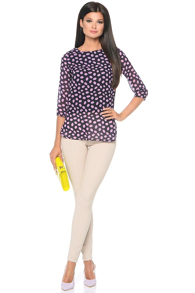 Блузка женская Milton, цвет: горох, розовый. WP-6512F. Размер 48WP-6512FБлузка свободного силуэта, круглый вырез горловины, рукава длиной 3/4.