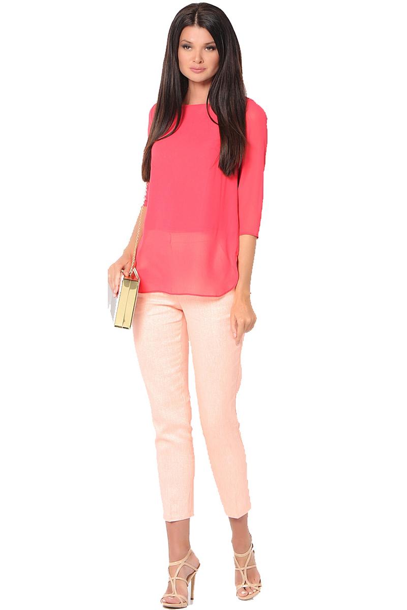 Блузка женская Milton, цвет: красный. WP-6512F. Размер 42WP-6512FБлузка свободного силуэта, круглый вырез горловины, рукава длиной 3/4.