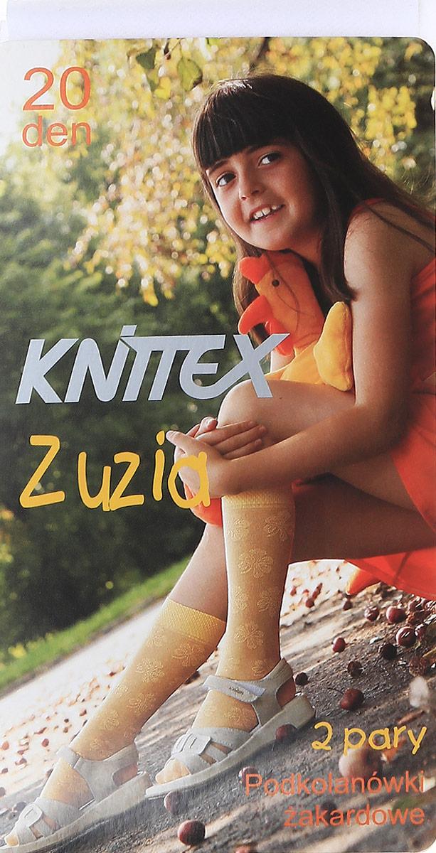 Гольфы для девочки Knittex, цвет: белый, 2 пары. Zuzia. Размер 18/22ZuziaЭластичные гольфы выполнены из полиамида и эластана. Модель оформлена нежным узорным принтом. В комплекте 2 пары.