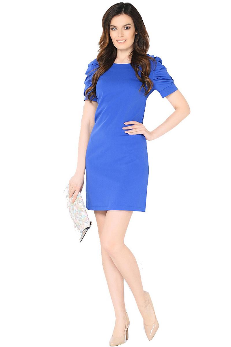 Платье Milton, цвет: синий. WD-2453F. Размер 44WD-2453FПлатье полуприлегающего силуэта, с втачными рукавами с драпировкой. На плечевых швах - отделочные банты из основной ткани.