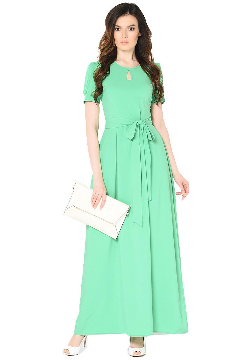 Платье Milton, цвет: зеленый. WD-2470F. Размер 44WD-2470FДлинное платье в пол полуприлегающего силуэта, с короткими втачными рукавами, отрезное по линии талии, со съемным поясом.