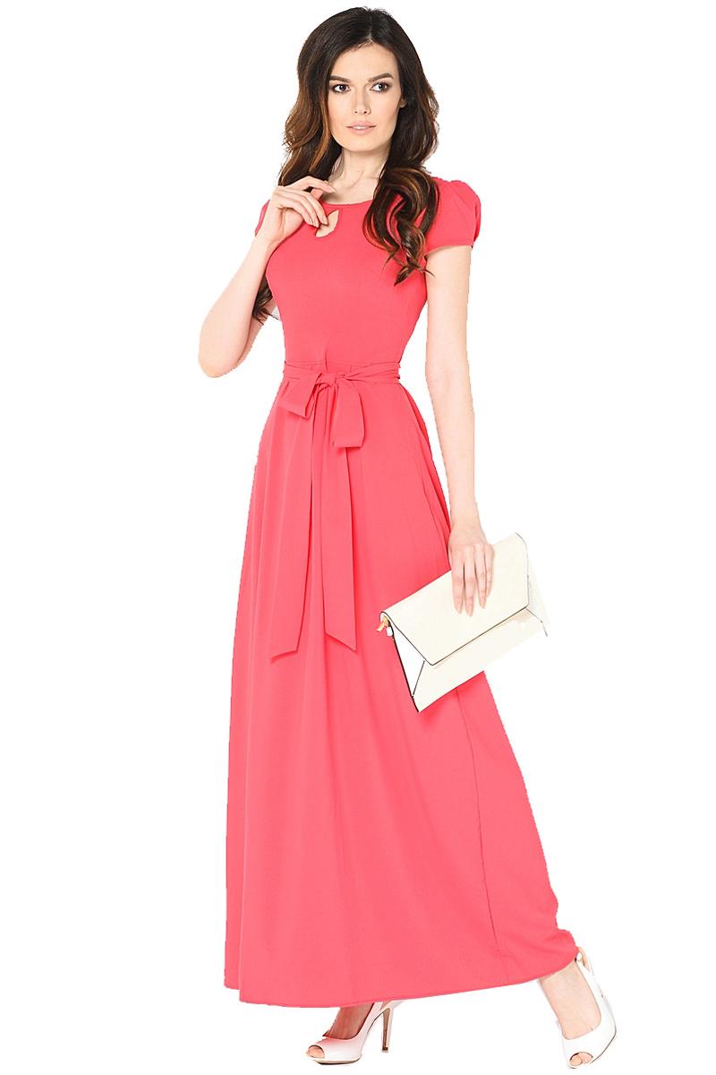 Платье Milton, цвет: красный. WD-2470F. Размер 44WD-2470FДлинное платье в пол полуприлегающего силуэта, с короткими втачными рукавами, отрезное по линии талии, со съемным поясом.