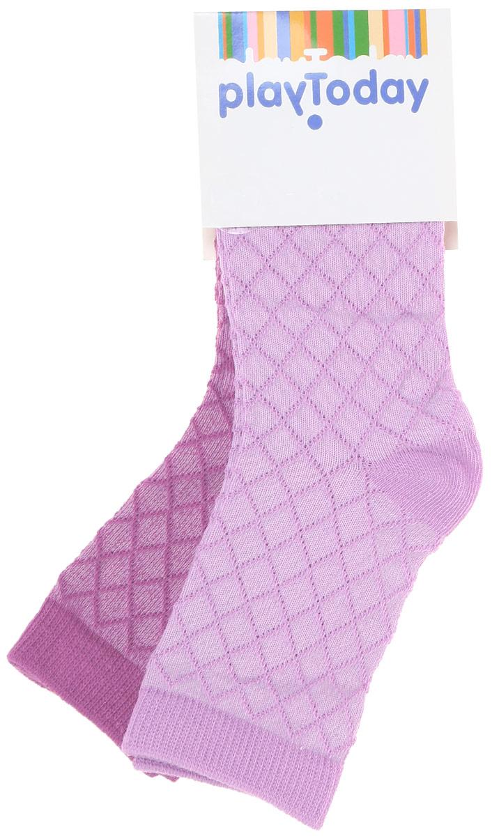 Носки для девочки PlayToday, цвет: сиреневый, лиловый, 2 пары. 162179. Размер 18162179Носки PlayToday, изготовленные из высококачественного материала, прекрасно подойдут вашему ребенку. Эластичная резинка плотно облегает ножку ребенка, не сдавливая ее. Усиленная пятка и мысок обеспечивают надежность и долговечность.
