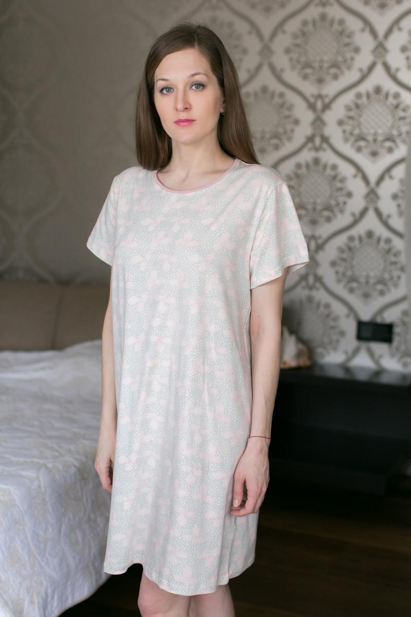 Платье домашнее Marusя, цвет: розовый. 160035. Размер XXL (52)160035Домашнее платье Marusя изготовлено из качественной смесовой ткани. Модель длины мини оформлена оригинальным рисунком. Платье с круглым вырезом горловины и короткими рукавами.