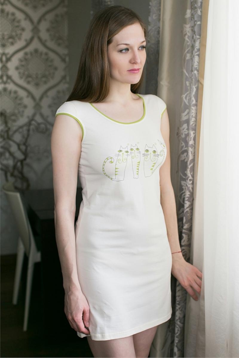 Платье домашнее Marusя, цвет: белый, салатовый. 160051. Размер L (48)160051Домашнее платье Marusя изготовлено из качественной смесовой ткани. Модель с короткими рукавами длины мини оформлена оригинальным рисунком.