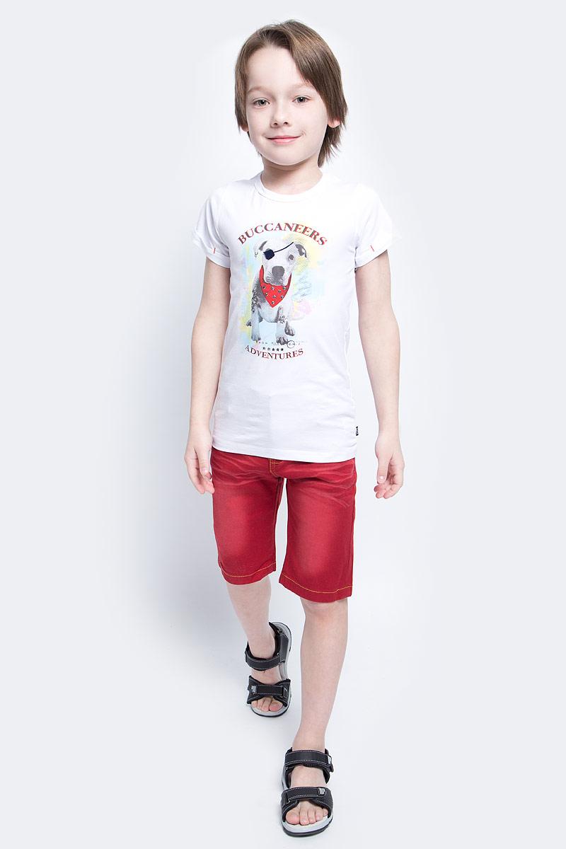 Футболка для мальчика Nota Bene, цвет: белый. SS161B302-1. Размер 98SS161B302-1Футболка для мальчика Nota Bene, изготовленная из эластичного хлопка, идеально подойдет для повседневной носки. Материал изделия мягкий и приятный на ощупь, не сковывает движения и позволяет коже дышать, обеспечивая комфорт. Футболка с круглым вырезом горловины и короткими рукавами оформлена оригинальным изображением собачки, а также принтовыми надписями. На рукавах предусмотрены декоративные отвороты. Модель украшена фигурными металлическими клепками.Футболка станет отличным дополнением к детскому гардеробу, ребенку в ней будет комфортно и удобно.
