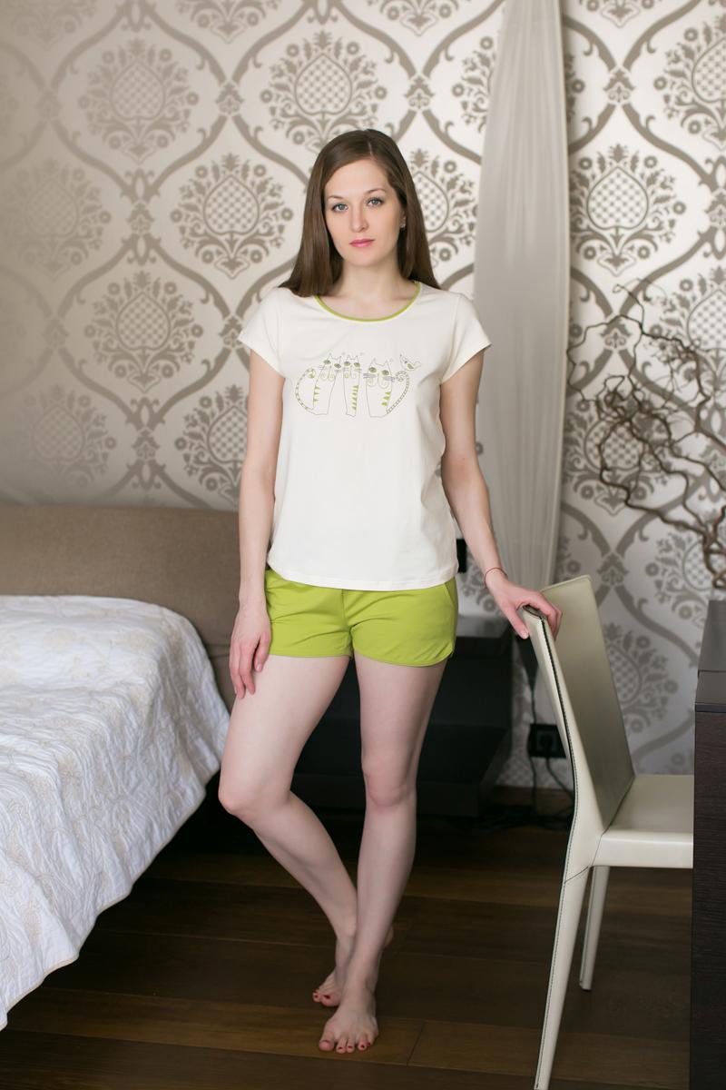 Комплект домашний женский Marusя: футболка, шорты, цвет: салатовый, белый. 164033. Размер XL (50)164033