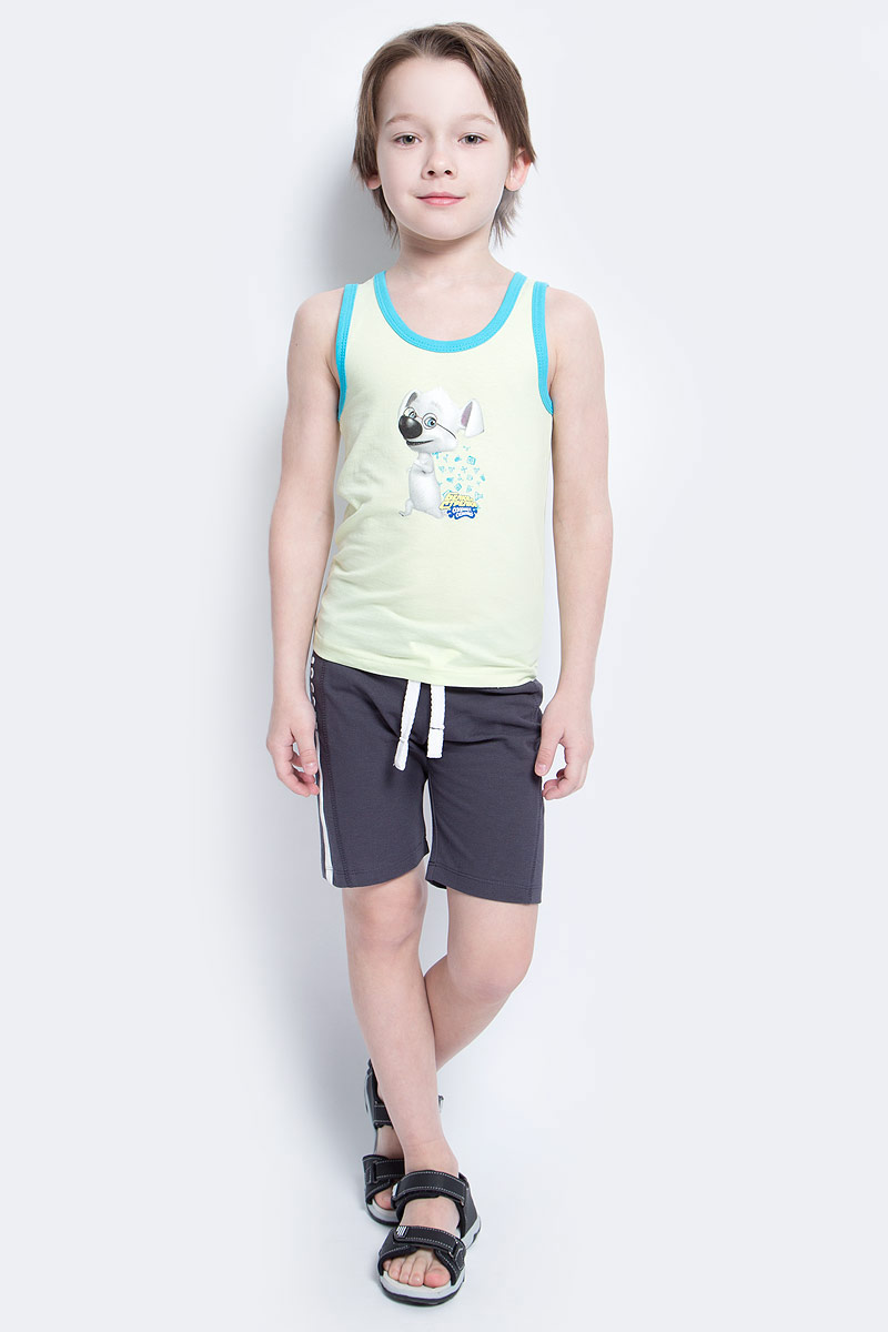 Майка для мальчика КотМарКот, цвет: светло-салатовый, голубой. 14206. Размер 104, 4 года14206Майка для мальчика КотМарКот станет модным и стильным предметом детского гардероба. Она удобна как для занятий спортом, так и для повседневной носки. Изготовленная из натурального хлопка, майка необычайно мягкая и приятная на ощупь, не сковывает движения и позволяет коже дышать, не раздражает даже самую нежную и чувствительную кожу ребенка, обеспечивая ему наибольший комфорт.Круглый вырез горловины и проймы дополнены трикотажной эластичной бейкой контрастного цвета. На груди изделие декорировано изображением персонажа из мультсериала Белка и Стрелка. Озорная семейка.Стильный крой и современный дизайн майки добавляют сходство со взрослыми моделями. В ней ваш маленький непоседа будет чувствовать себя уютно и комфортно.