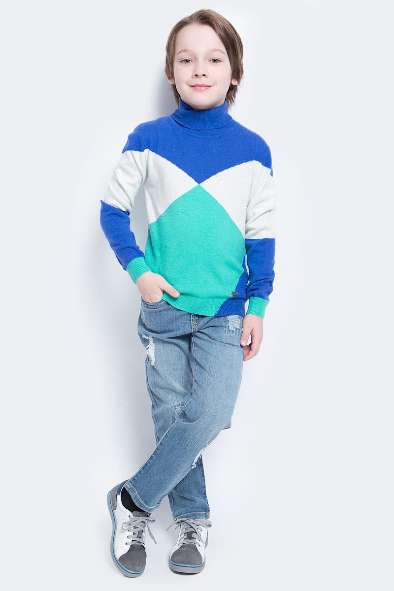 Свитер для мальчика Nota Bene, цвет: синий, зеленый, белый. WW5210-13. Размер 104WW5210-13Тонкий свитер для мальчика Nota Bene идеально подойдет вашему ребенку в прохладные дни. Изготовленный из высококачественной пряжи, он необычайно мягкий и приятный на ощупь, не сковывает движения ребенка и хорошо сохраняет тепло, обеспечивая наибольший комфорт. Свитер с длинными рукавами и воротником-гольф. Низ рукавов, воротник и низ изделия связаны резинкой. Изделие выполнено из пряжи различных цветов.Современный дизайн и расцветка делают этот свитер незаменимым предметом детского гардероба. В нем вашему маленькому мужчине будет уютно и тепло, и он всегда будет в центре внимания!