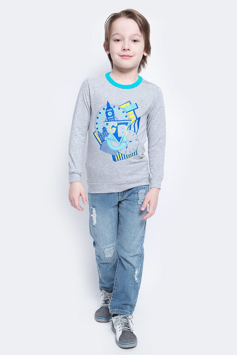 Лонгслив для мальчика M&D, цвет: серый меланж, мультиколор. WJF160032. Размер 128WJF160032Яркий лонгслив M&D для мальчикаидеальный вариант для повседневной носки. Изготовленный из хлопка с добавлением лайкры, он необычайно мягкий и приятный на ощупь, не сковывает движения и позволяет коже дышать, не раздражает даже самую нежную и чувствительную кожу, обеспечивая наибольший комфорт. Модель с длинными рукавами и круглым вырезом горловины, которая дополнена трикотажной резинкой, на груди изделие оформлено ярким принтом. В этом лонгсливе ваш ребенок будет чувствовать себя уютно и комфортно!