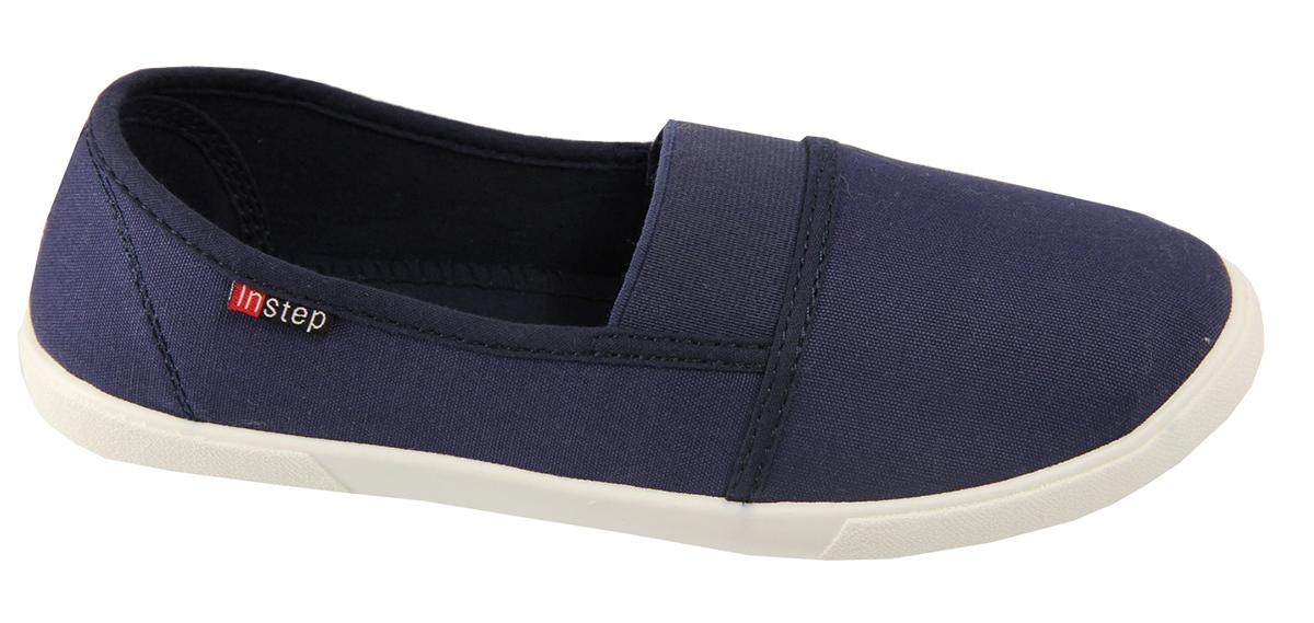 Слипоны женские In Step, цвет: темно-синий. Z3X-2. Размер 36Z3X-2Стильные женские слипоны от In Step выполнены из высококачественного текстиля. Подошва из термопластичного полимера устойчива к изломам. На подъеме модель дополнена эластичной резинкой для удобства надевания. Аккуратно смотрятся на ноге, комфортно носятся.