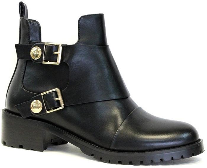 Ботинки женские LK Collection, цвет: черный. SP-XA0201-1 PU (SP-X2244-05-1). Размер 38SP-XA0201-1 PU (SP-X2244-05-1)Модные женские ботинки на низком квадратном каблуке выполнены из искусственной кожи. Стелька выполнена из текстиля.