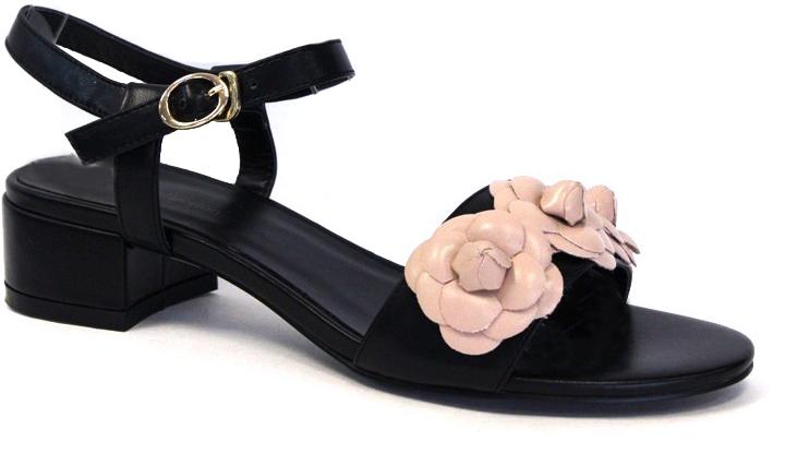 Босоножки женские LK Collection, цвет: черный, бежевый. SP-QA0402-2 PU (SP-Q03003-8). Размер 40SP-QA0402-2 PU (SP-Q03003-8)Стильные босоножки на низком каблуке выполнены из искусственной кожи. Стелька выполнена из натуральной кожи. Босоножки фиксируются на ноге при помощи застежки-пряжки.