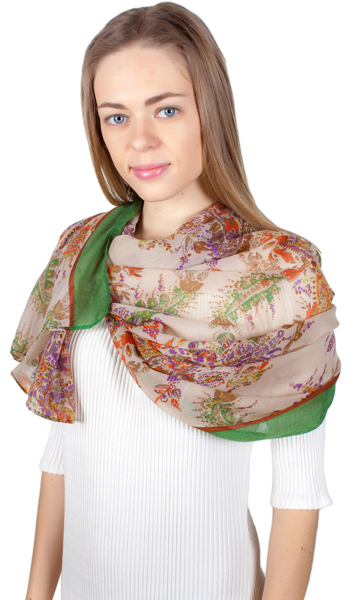 Палантин Sophie Ramage, цвет: зеленый, бежевый, оранжевый. HL-11701-23. Размер 80 см х 180 смHL-11701-23Яркий палантин Sophie Ramage изготовлен из модала и шелка. Модель оформлена оригинальным принтом. Изделия Sophie Ramage приятные на ощупь и подойдут к любому стилю.