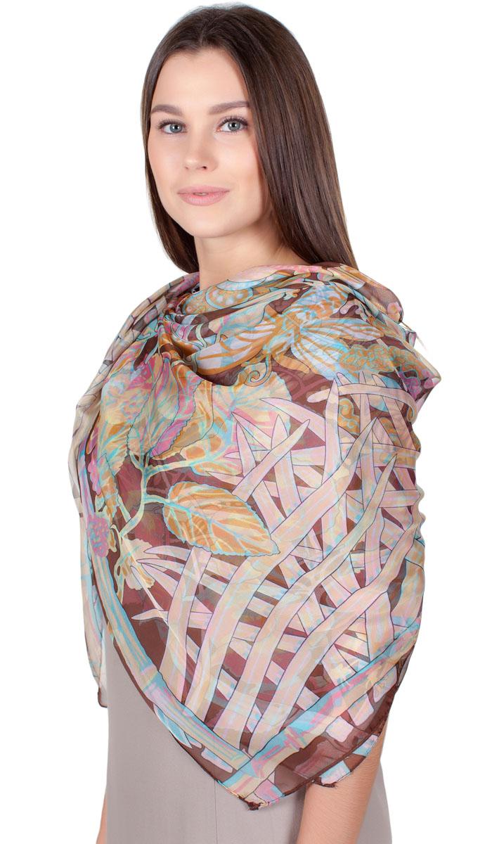 Платок женский Sophie Ramage, цвет: коричневый, голубой, розовый. HL-11701-30. Размер 140 см x 140 смHL-11701-30Яркий платок Sophie Ramage изготовлен из шелка и полиэстера. Модель оформлена оригинальным принтом. Изделия Sophie Ramage приятные на ощупь и подойдут к любому стилю.