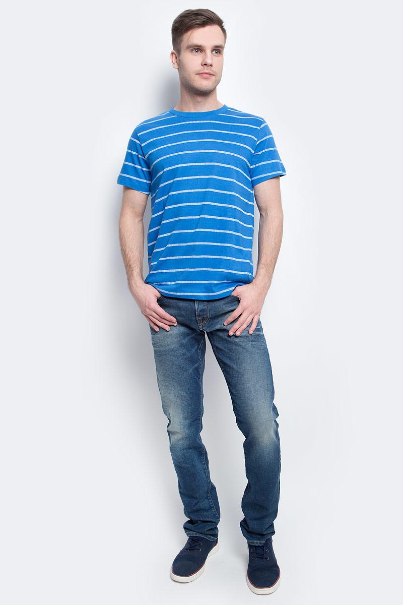Футболка мужская Sela, цвет: индиго. Ts-211/2056-7214. Размер S (46)Ts-211/2056-7214Стильная мужская футболка полуприлегающего силуэта Sela изготовлена из натурального хлопка в полоску. Воротник дополнен мягкой рикотажной резинкой.Яркий цвет модели позволяет создавать модные образы.
