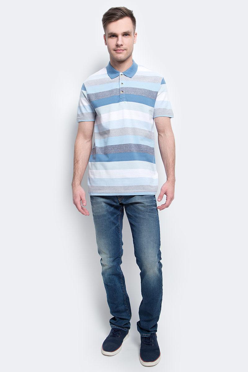Поло мужское Finn Flare, цвет: ярко-синий. S17-42024_111. Размер XXL (54)S17-42024_111Поло мужское Finn Flare выполнено из натурального хлопка. Модель с отложным воротником и короткими рукавами.