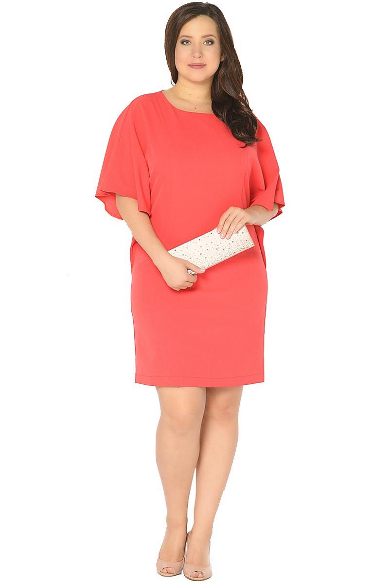 Платье Milton, цвет: красный. WD-2518F. Размер 50WD-2518FПлатье прямого силуэта с целькроенными рукавами - летучая мышь.