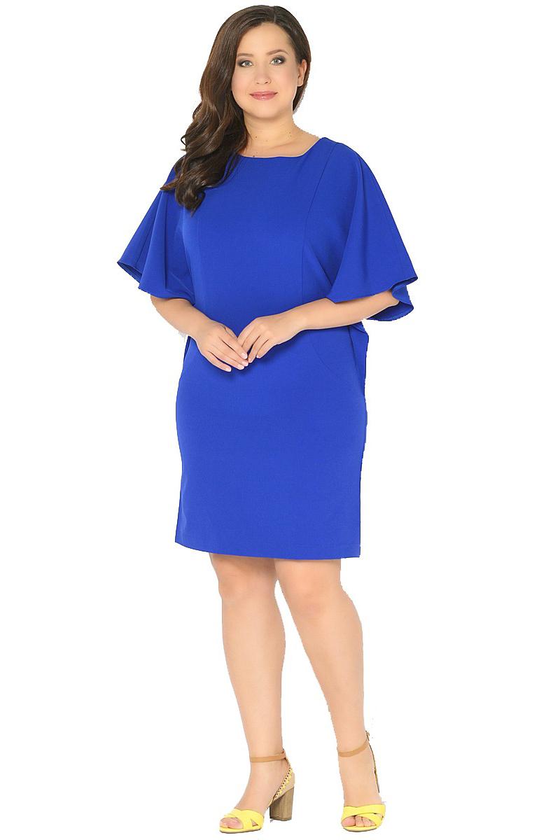 Платье Milton, цвет: синий. WD-2518F. Размер 48WD-2518FПлатье прямого силуэта с целькроенными рукавами - летучая мышь.