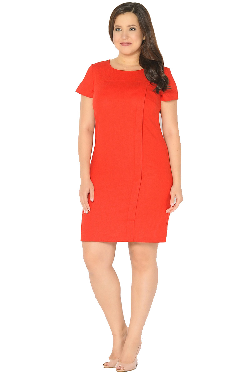 Платье Milton, цвет: красный. WD-2601F. Размер 52WD-2601FЛьняное платье полуприлегающего силуэта, с короткими втачными рукавами, с кокеткой по переду, от которой с левой стороны застрочена вертикальная складка до низа.