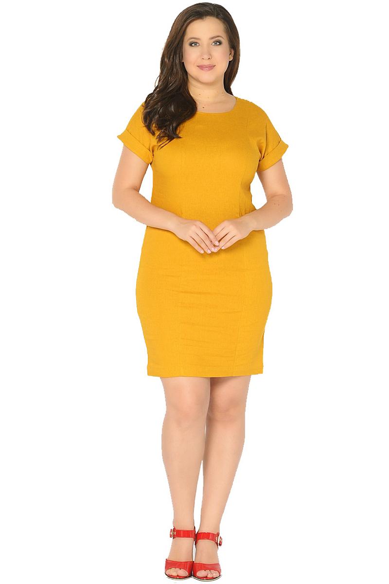 Платье Milton, цвет: желтый. WD-2602F. Размер 48WD-2602FЛьняное платье полуприлегающего силуэта, с короткими цельнокроенными рукавами с манжетами. Перед платья с рельефными швами, в бочках переда обработаны карманы с отворотами.