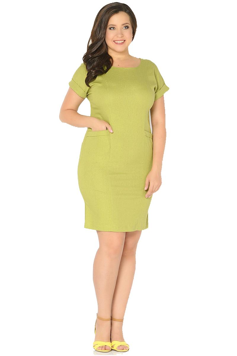 Платье Milton, цвет: оливковый. WD-2602F. Размер 46WD-2602FЛьняное платье полуприлегающего силуэта, с короткими цельнокроенными рукавами с манжетами. Перед платья с рельефными швами, в бочках переда обработаны карманы с отворотами.