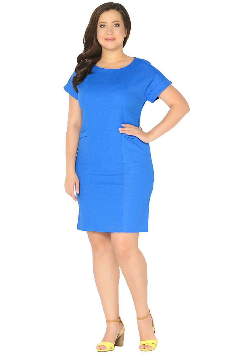 Платье Milton, цвет: синий. WD-2602F. Размер 46WD-2602FЛьняное платье полуприлегающего силуэта, с короткими цельнокроенными рукавами с манжетами. Перед платья с рельефными швами, в бочках переда обработаны карманы с отворотами.
