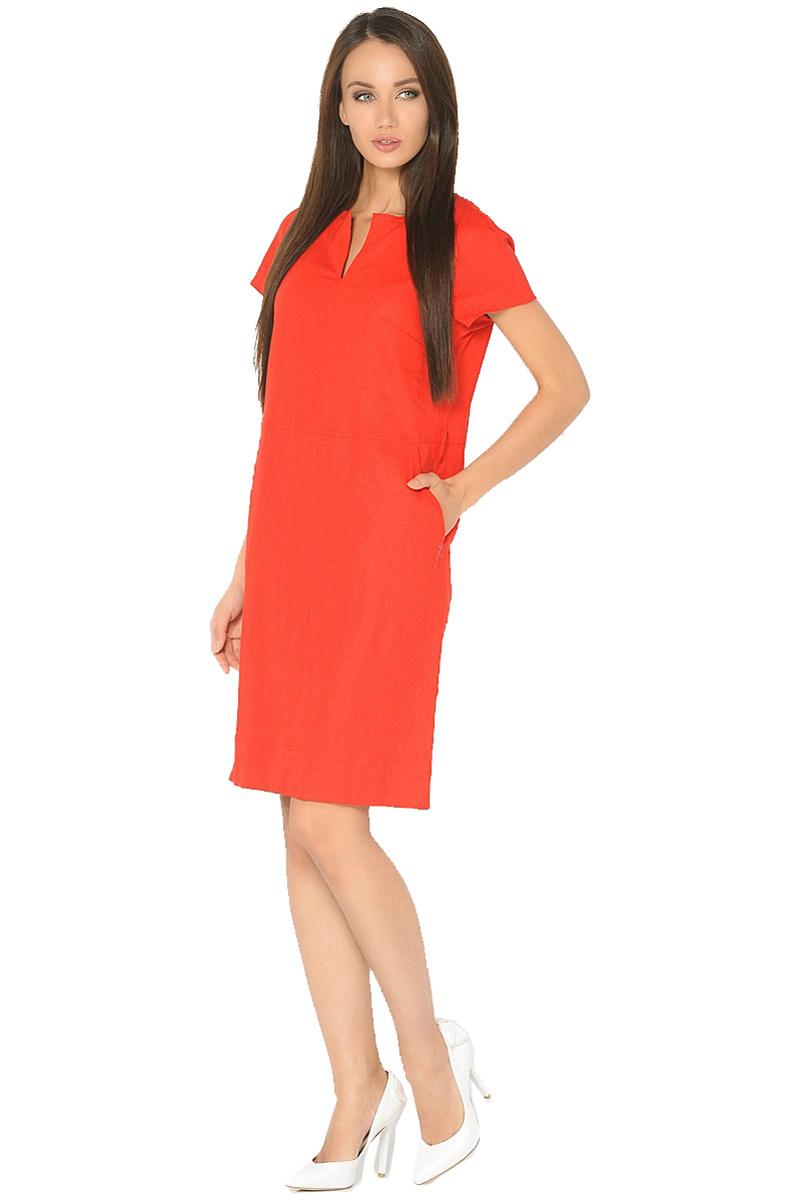 Платье Milton, цвет: красный. WD-2603F. Размер 48WD-2603FЛьняное платье полуприлегающего силуэта, отрезное по линии талии с короткими рукавами покроя реглан. По центру горловины - вертикальный разрез, в боковых швах юбки - карманы. По низу юбки в боковых швах - небольшие разрезы.