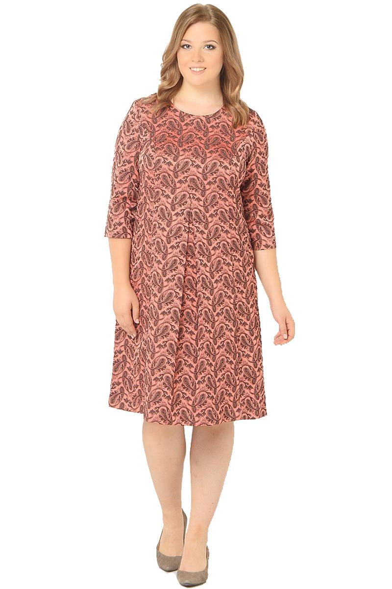 Платье Milton, цвет: красный. WD-2604F. Размер 54WD-2604FПлатье А-образного силуэта с втачными рукавами длиной 1/2, по переду от груди вниз - встречная складка.