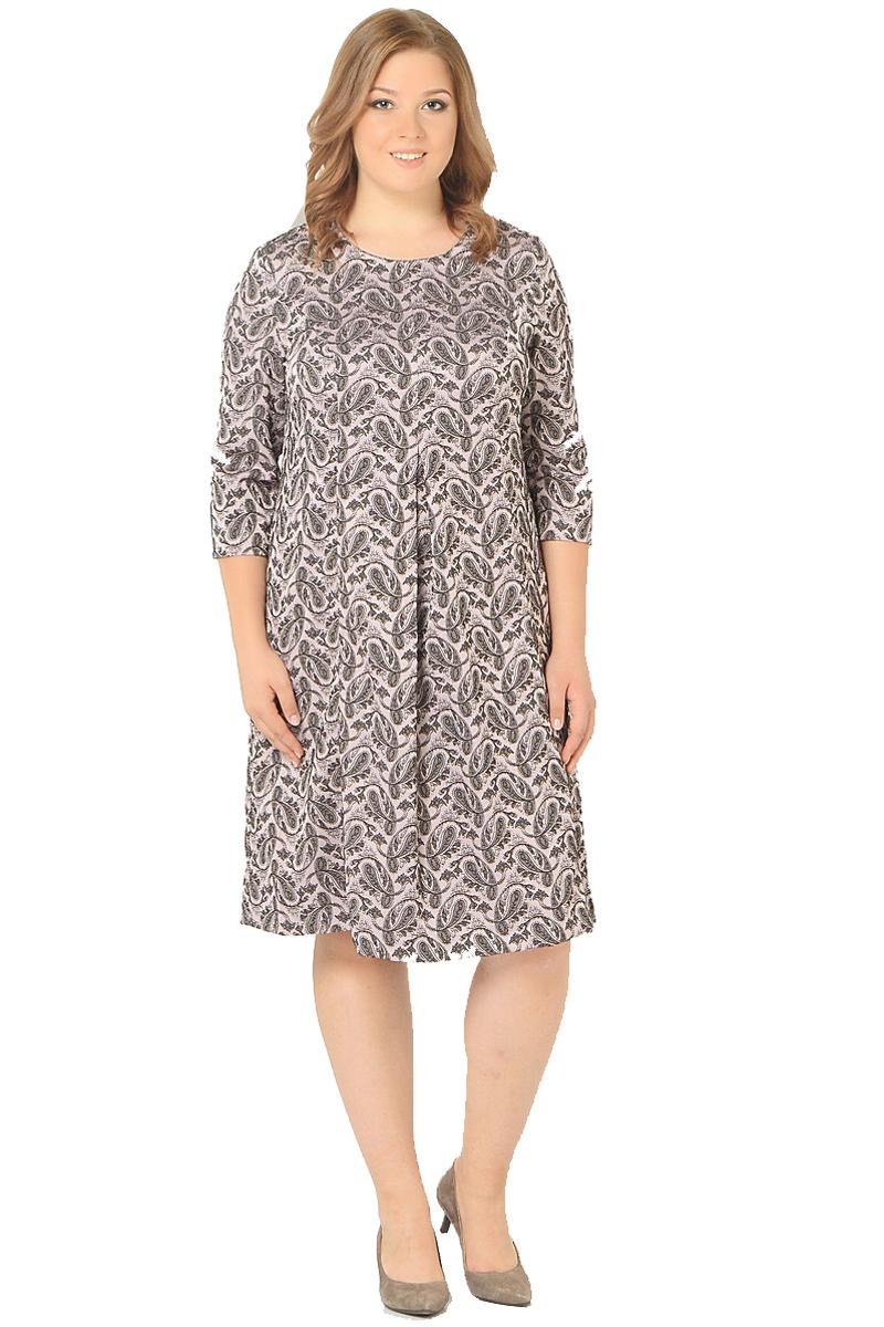Платье Milton, цвет: розовый. WD-2604F. Размер 50WD-2604FПлатье А-образного силуэта с втачными рукавами длиной 1/2, по переду от груди вниз - встречная складка.