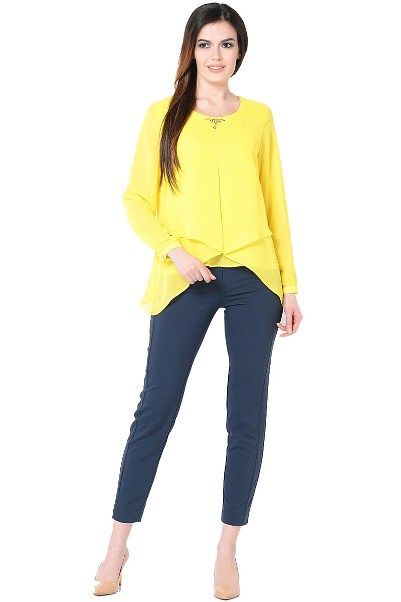 Блузка женская Milton, цвет: желтый. WP-6511F. Размер 46WP-6511FДвухслойная блузкас длинными втачными рукавами. Круглый вырез горловины, по центру - отделочная деталь.