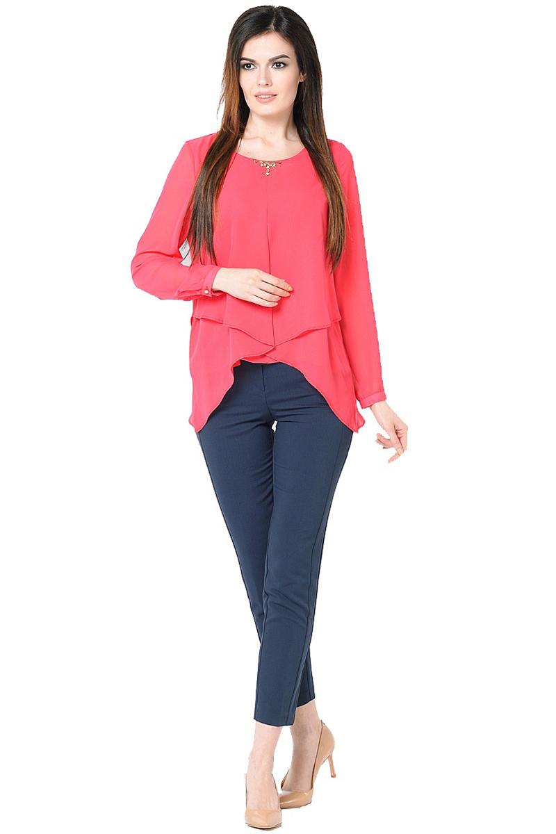 Блузка женская Milton, цвет: красный. WP-6511F. Размер 50WP-6511FДвухслойная блузкас длинными втачными рукавами. Круглый вырез горловины, по центру - отделочная деталь.