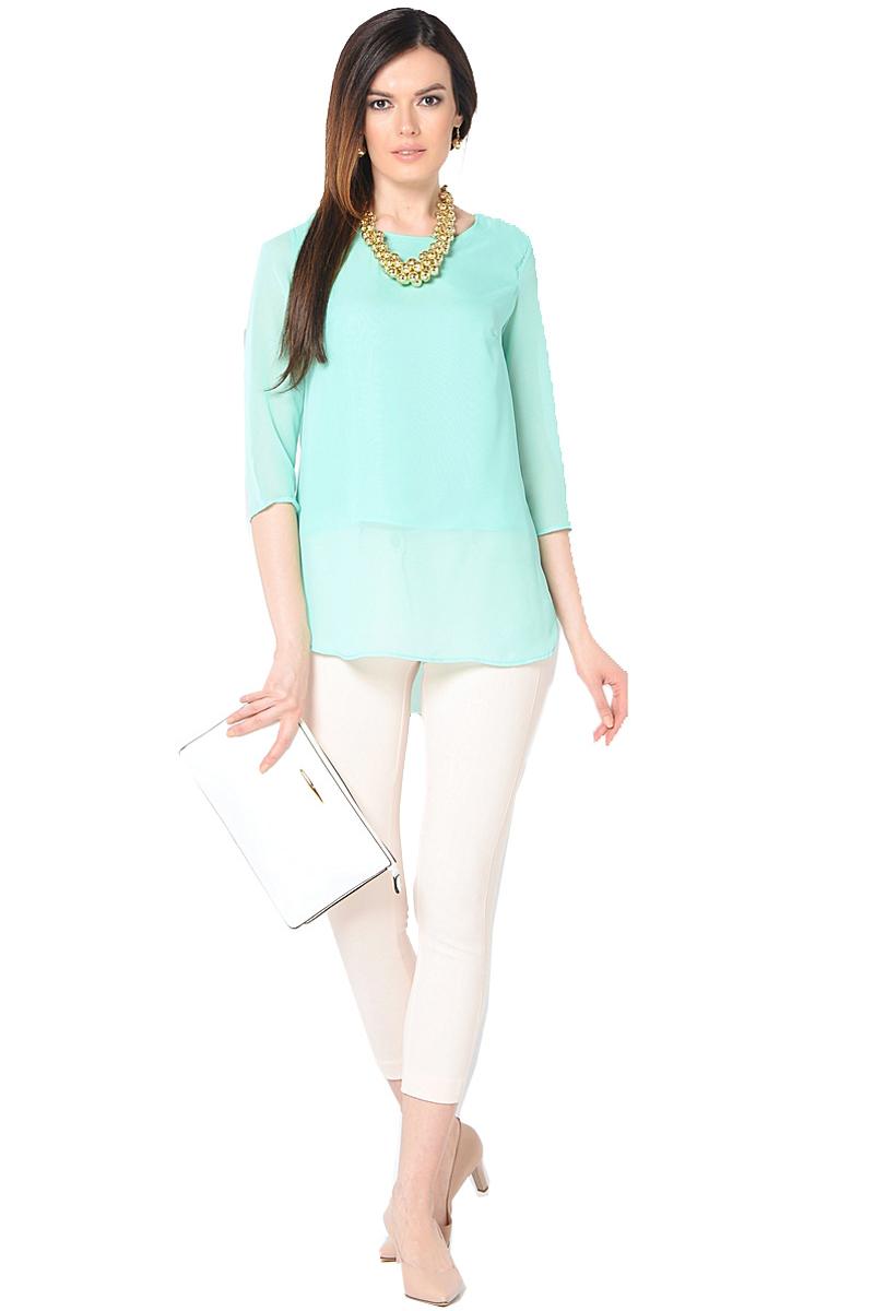 Блузка женская Milton, цвет: ментоловый. WP-6512F. Размер 46WP-6512FБлузка свободного силуэта, круглый вырез горловины, рукава длиной 3/4.