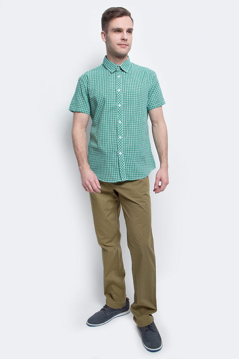 Рубашка мужская Finn Flare, цвет: зеленый. S17-22015_519. Размер XL (52)S17-22015_519Рубашка мужская Finn Flare выполнена из хлопка. Модель с отложным воротником и короткими рукавами застегивается на пуговицы.